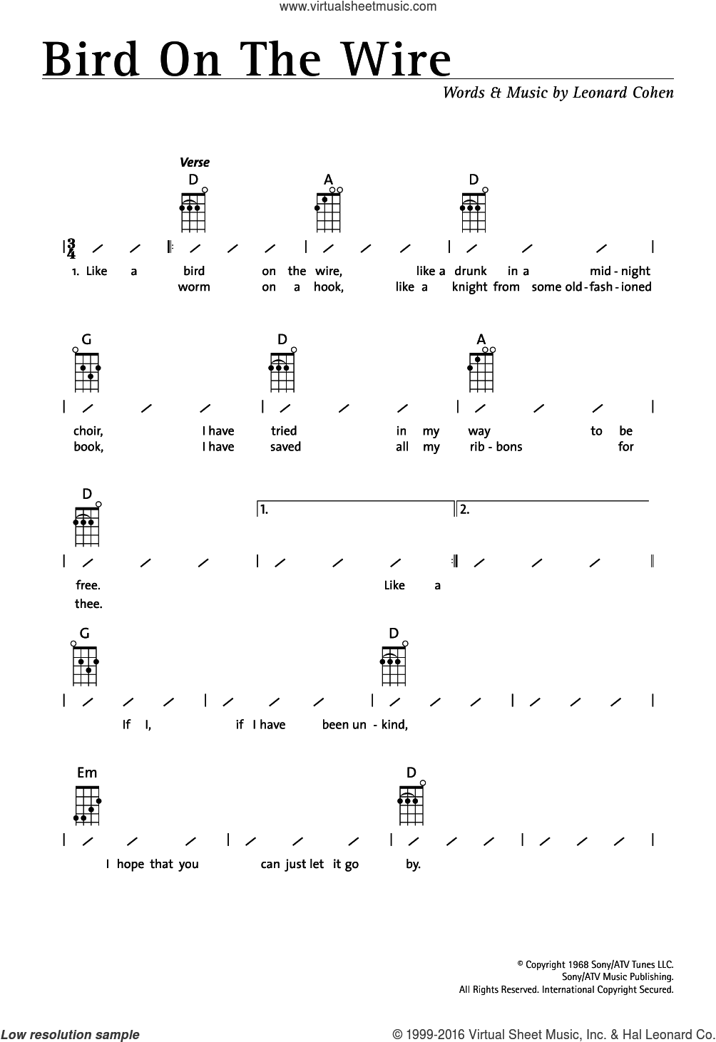 Bird On The Wire (Bird On A Wire) sheet music for ukulele (chords) by Leonard Cohen. Score Image Preview.