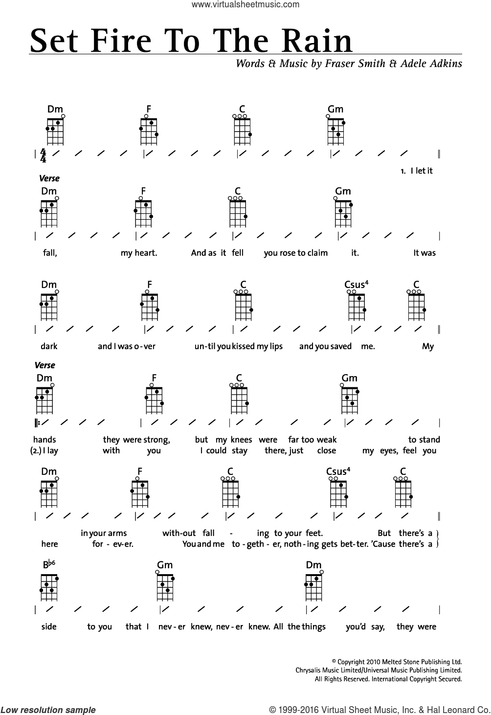 Set Fire To The Rain sheet music for ukulele (chords) by Adele. Score Image Preview.