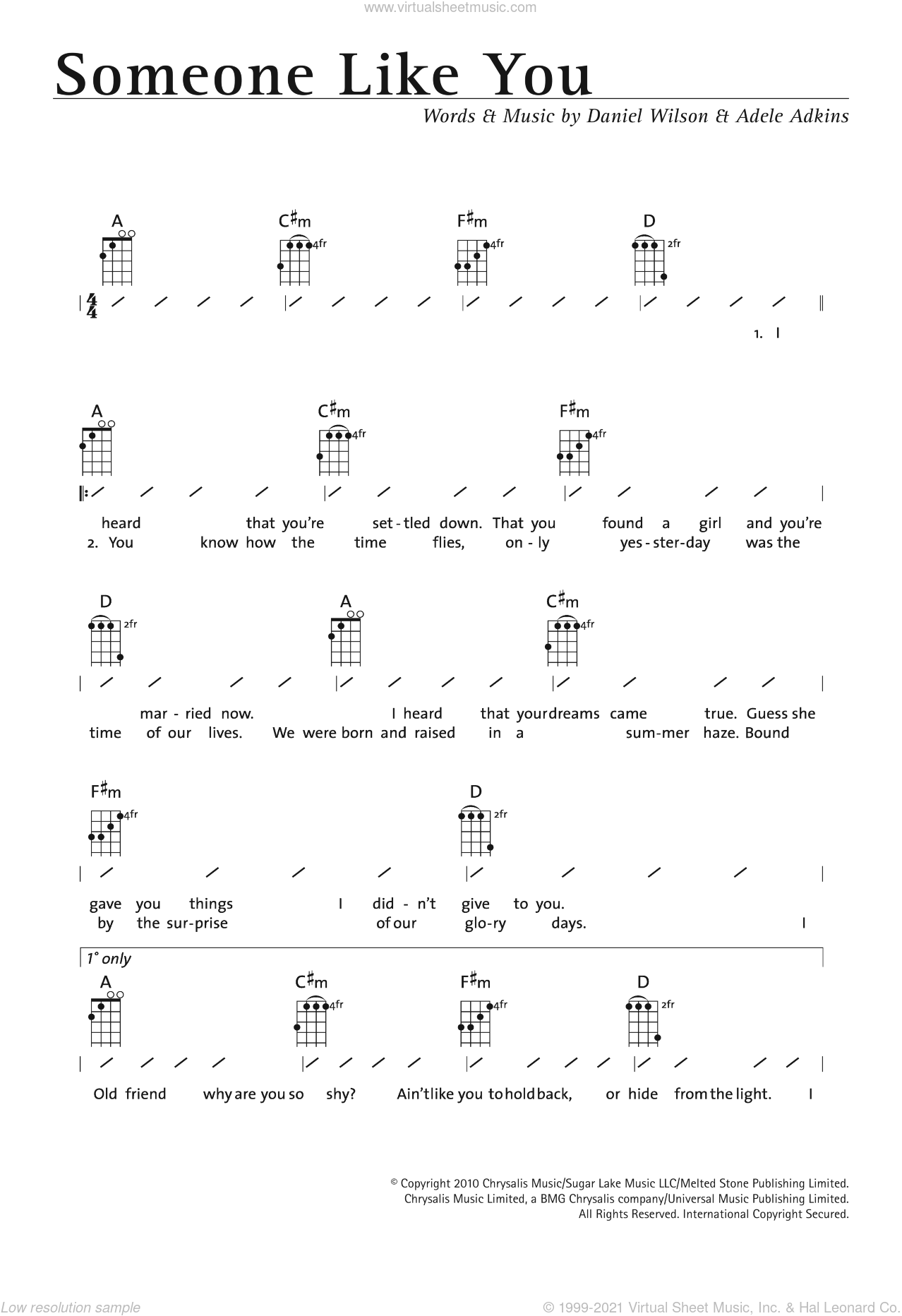 Someone Like You Sheet Music For Ukulele Chords By Adele Adkins And