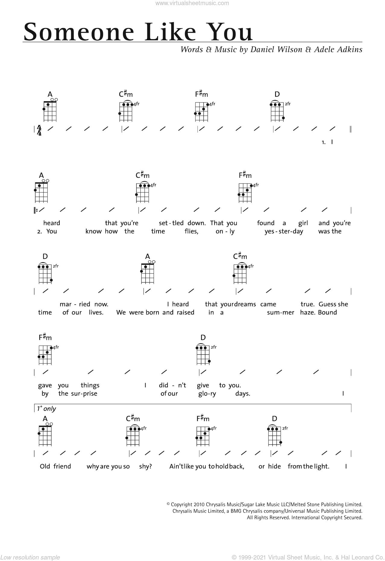 Adele - Someone Like You sheet music for ukulele (chords) [PDF]