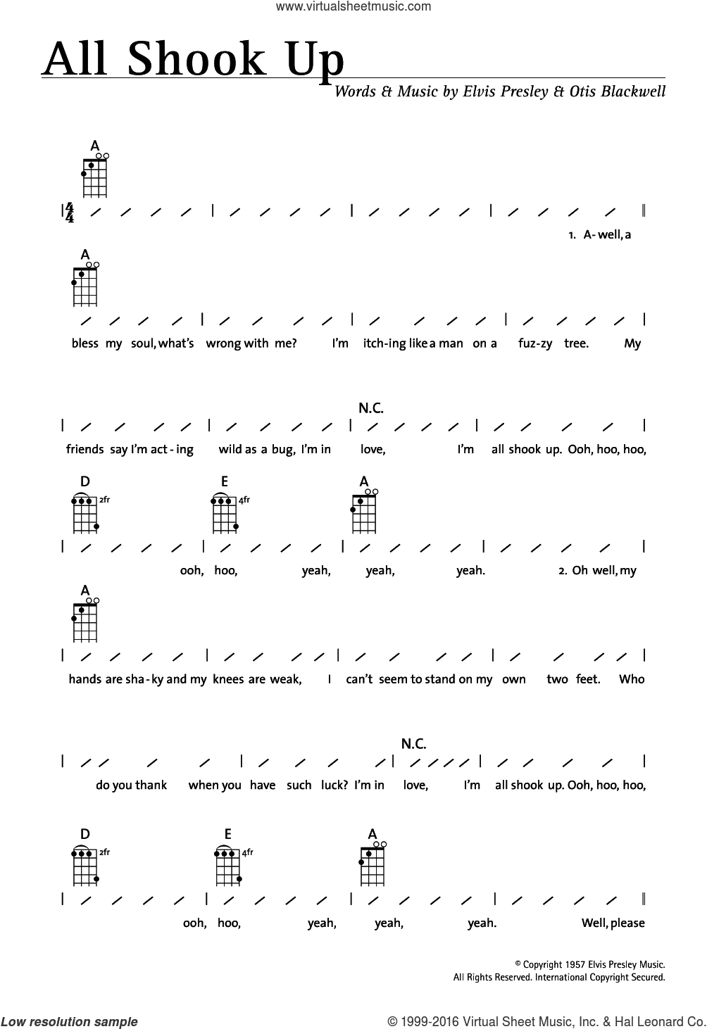 All Shook Up sheet music for ukulele (chords) by Elvis Presley and Otis Blackwell, intermediate skill level