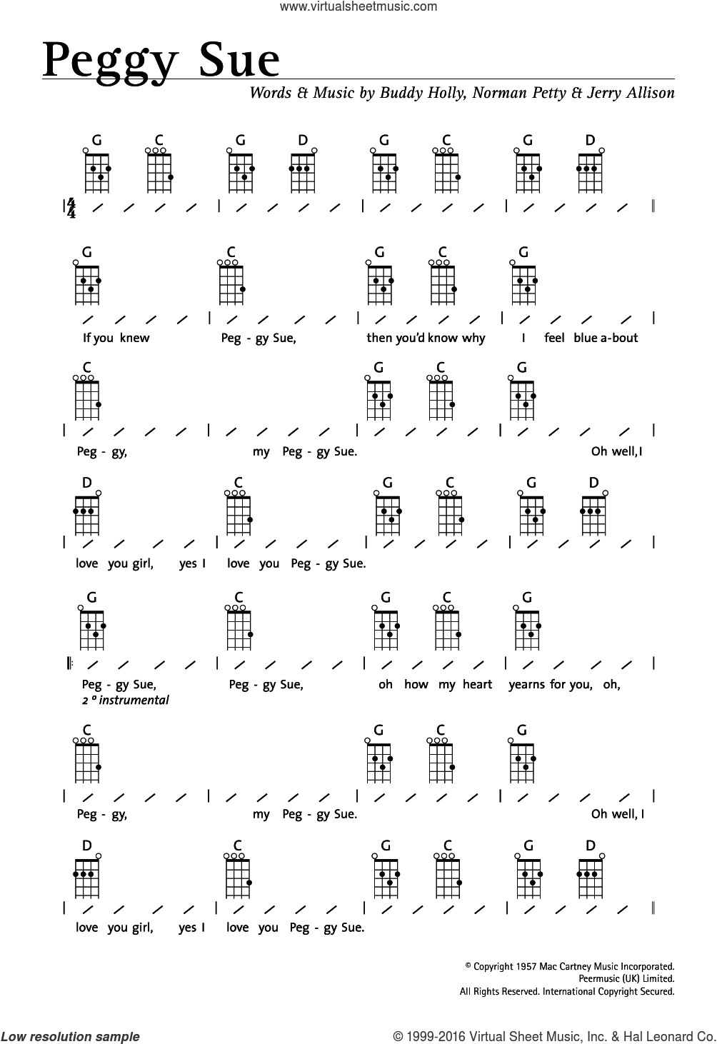 Peggy Sue sheet music for ukulele (chords) by Norman Petty, Buddy Holly and Jerry Allison. Score Image Preview.