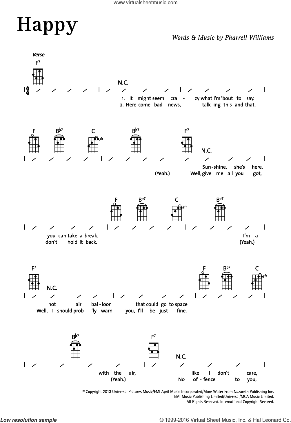 Happy sheet music for ukulele (chords) by Pharrell Williams. Score Image Preview.