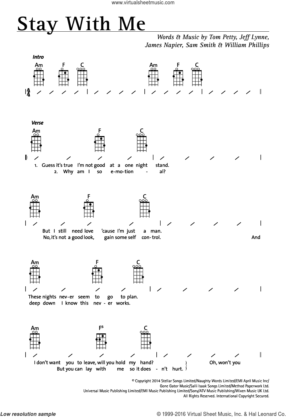 Stay With Me sheet music for ukulele (chords) by Sam Smith, Jeff Lynne and Tom Petty, intermediate ukulele (chords). Score Image Preview.