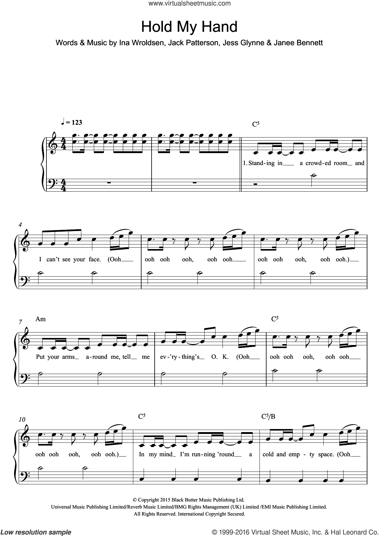 Hold My Hand sheet music for piano solo by Jess Glynne, Ina Wroldsen, Jack Patterson and Janee Bennett, easy skill level
