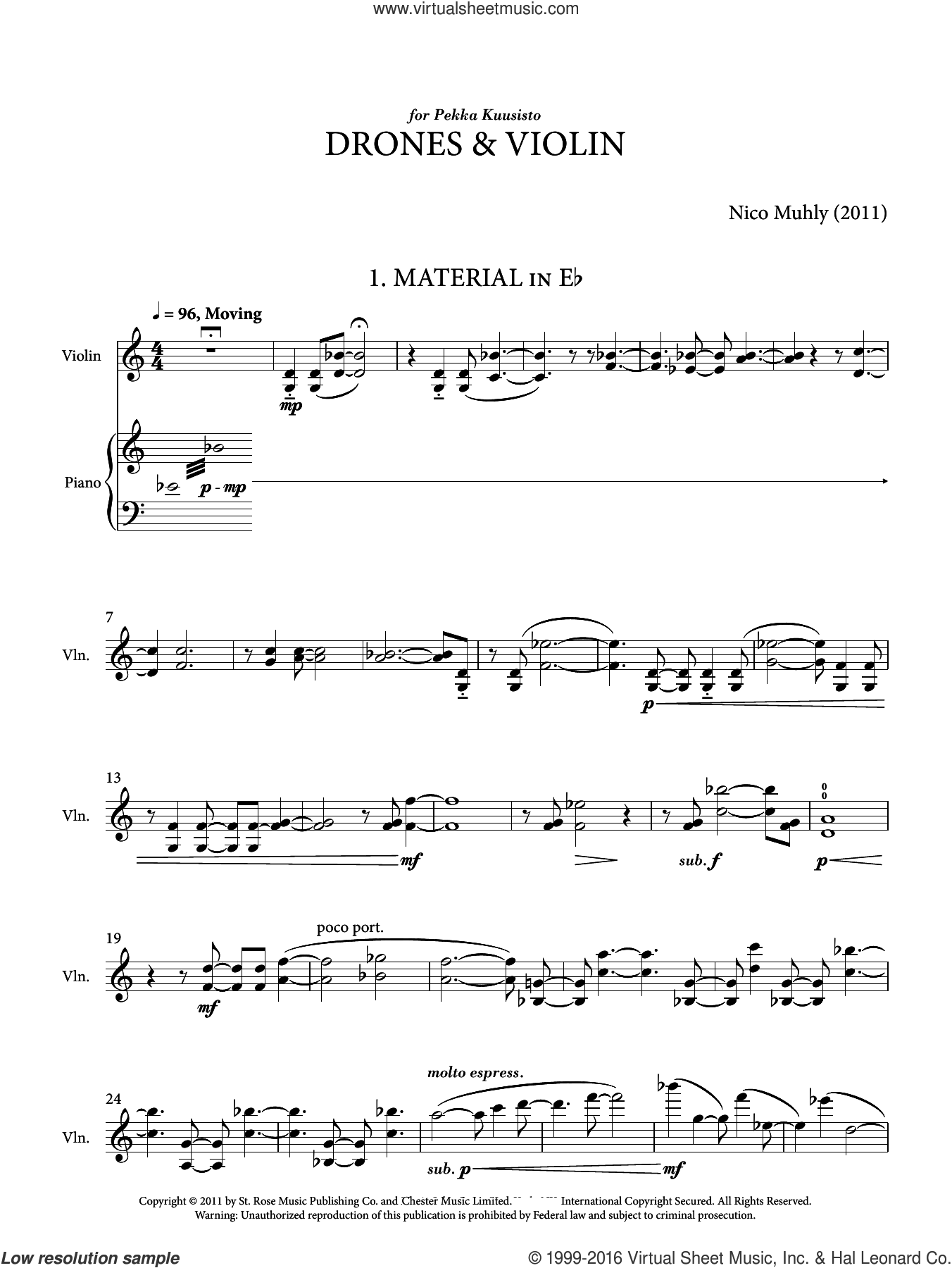 Drones And Violin sheet music for voice and other instruments (fake book) by Nico Muhly, classical score, intermediate skill level