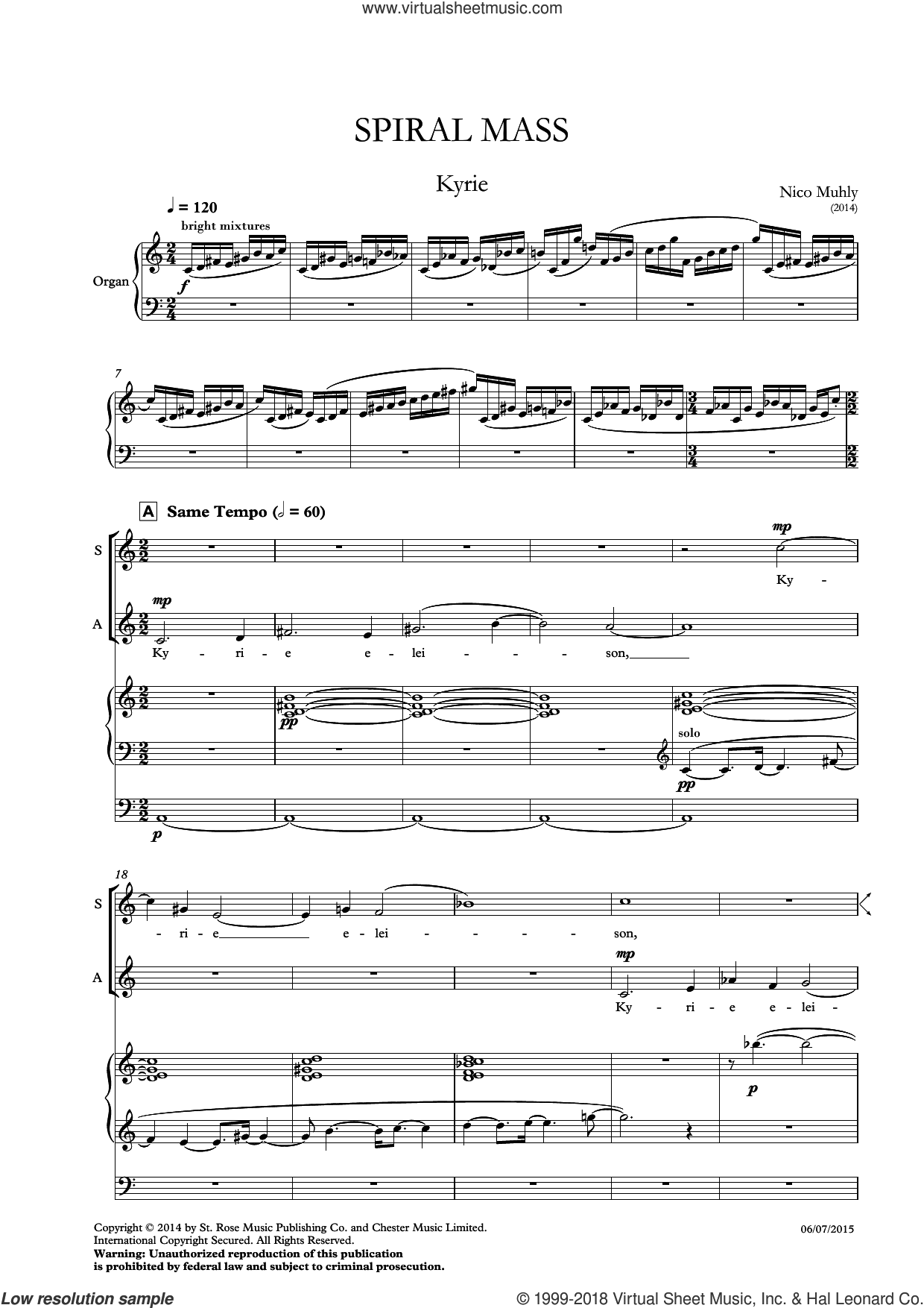 Spiral Mass sheet music for choir by Nico Muhly and Liturgical Text, classical score, intermediate