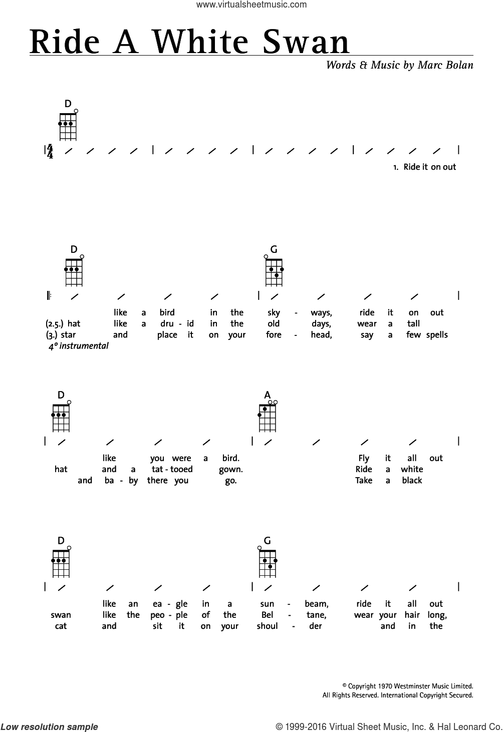 Ride A White Swan sheet music for ukulele (chords) by Marc Bolan and T. Rex. Score Image Preview.