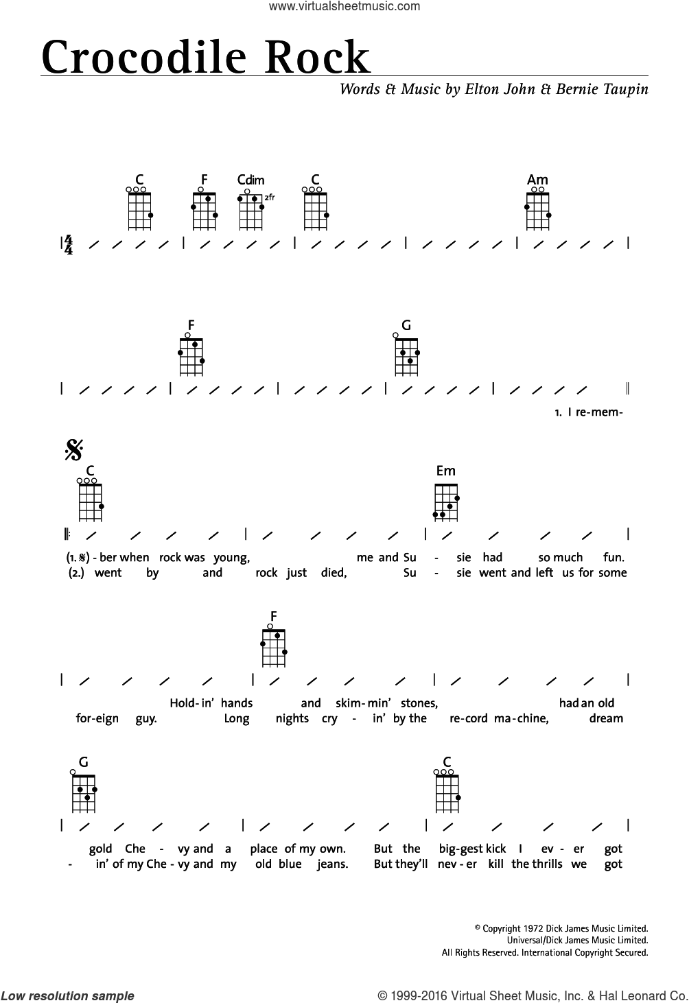 Crocodile Rock sheet music for ukulele (chords) by Bernie Taupin and Elton John. Score Image Preview.