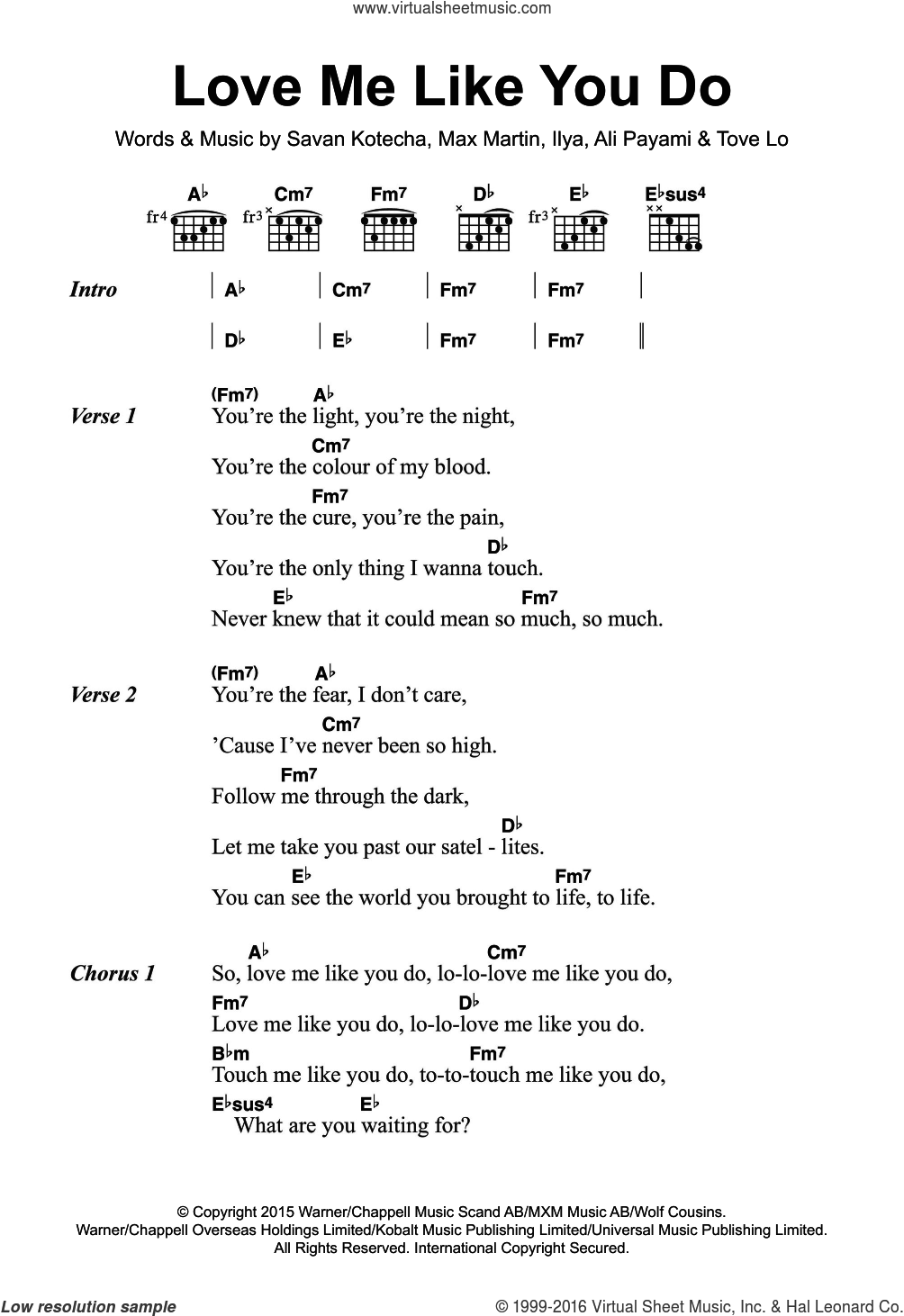 Love Me Like You Do sheet music for guitar (chords) by Ellie Goulding, Ali Payami, Ilya, Max Martin, Savan Kotecha and Tove Lo, intermediate skill level