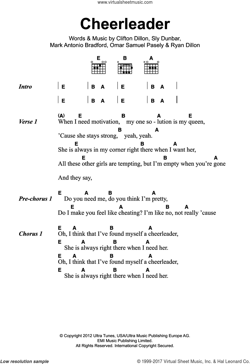 Omi   Cheerleader sheet music for guitar chords [PDF]