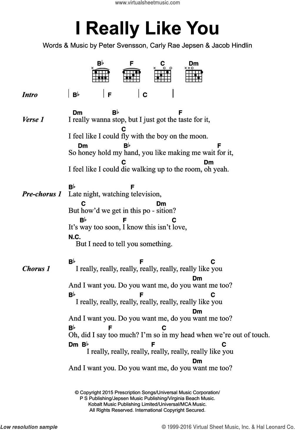 I Really Like You sheet music for guitar (chords) by Carly Rae Jepsen, Jacob Hindlin and Peter Svensson, intermediate skill level