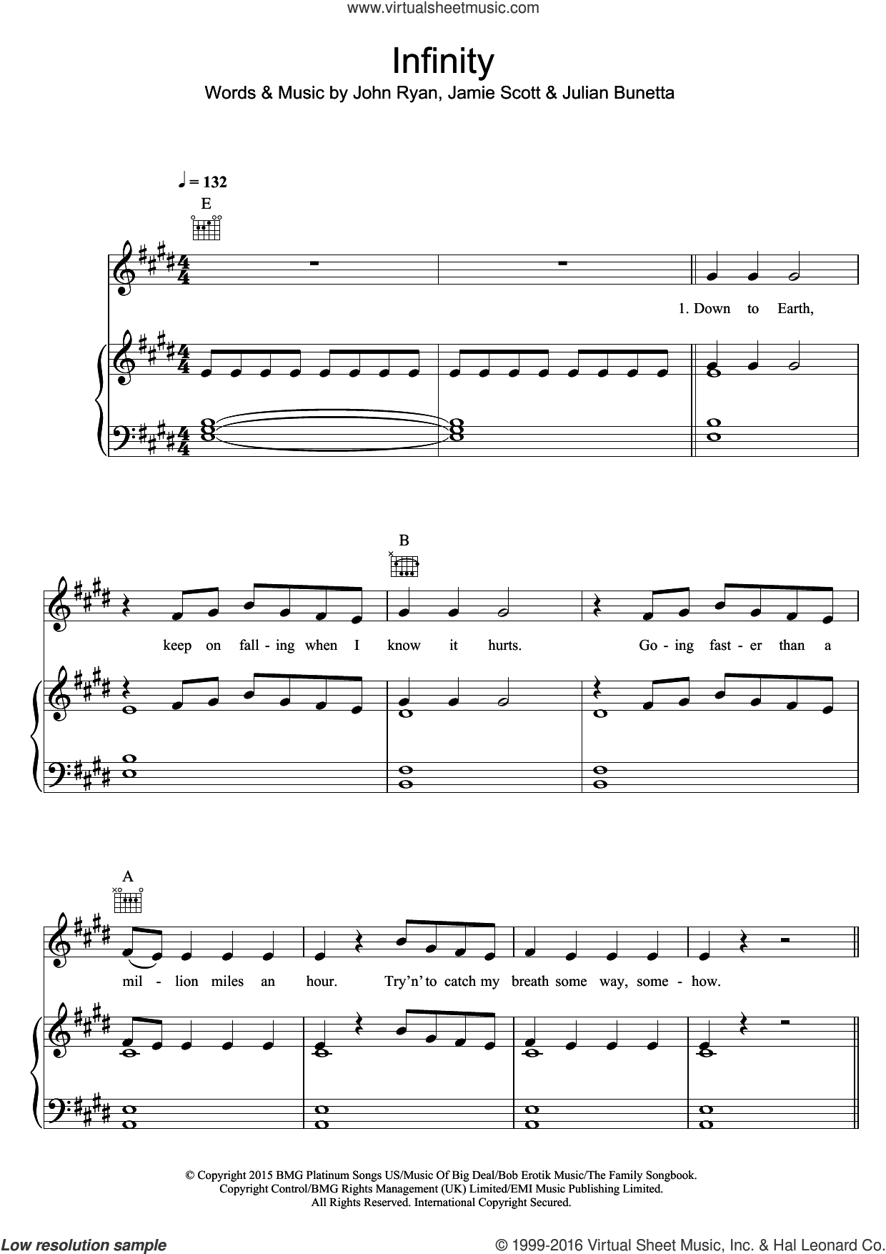 Infinity sheet music for voice, piano or guitar by One Direction, Jamie Scott, John Ryan and Julian Bunetta, intermediate skill level