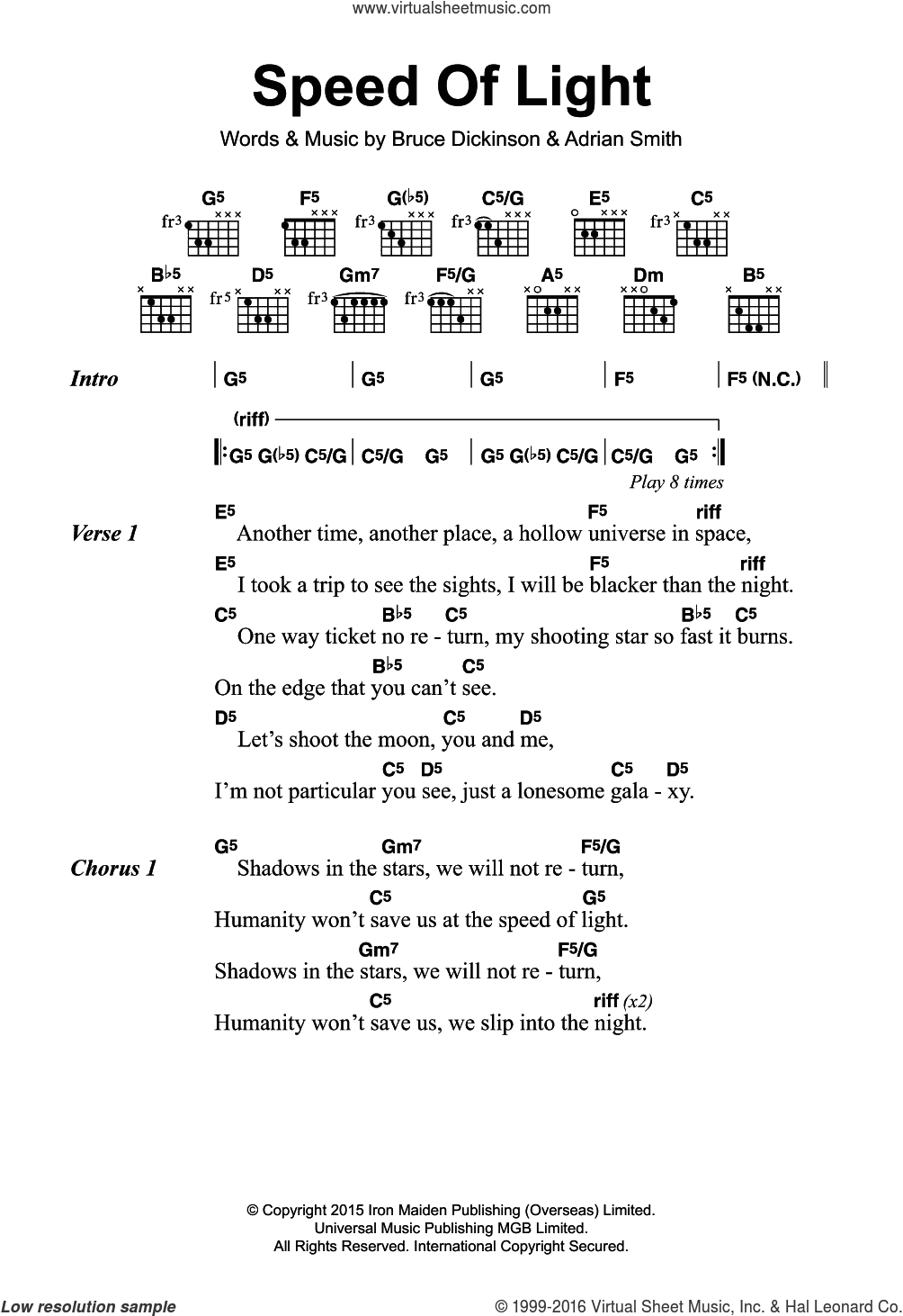 Speed Of Light sheet music for guitar (chords) by Bruce Dickinson, Iron Maiden and Adrian Smith. Score Image Preview.