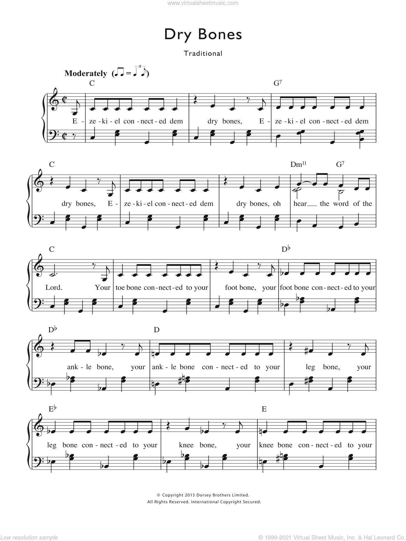 Rhyme Dry Bones Sheet Music For Voice