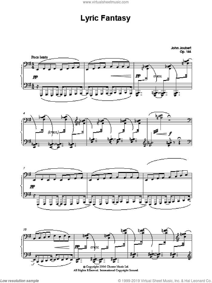 Lyric Fantasy sheet music for piano solo by John Joubert