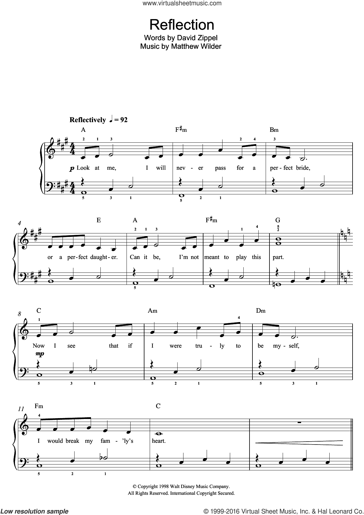 Reflection (from Mulan) sheet music for piano solo by Christina Aguilera, David Zippel and Matthew Wilder, easy skill level