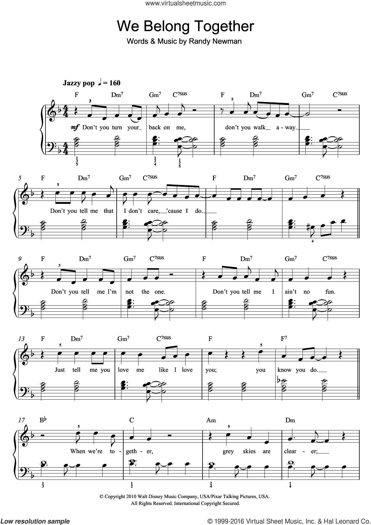 We Belong Together (From Disney's Toy Story 3) sheet music for voice, piano or guitar by Randy Newman. Score Image Preview.