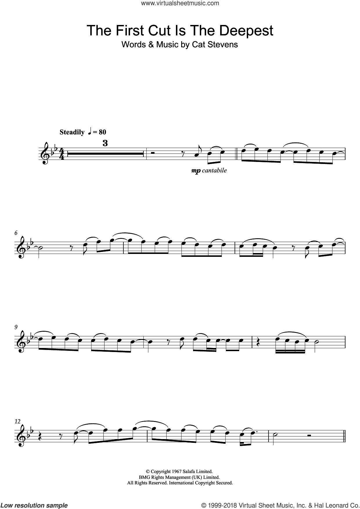 The First Cut Is The Deepest sheet music for flute solo by Cat Stevens and Sheryl Crow, intermediate skill level