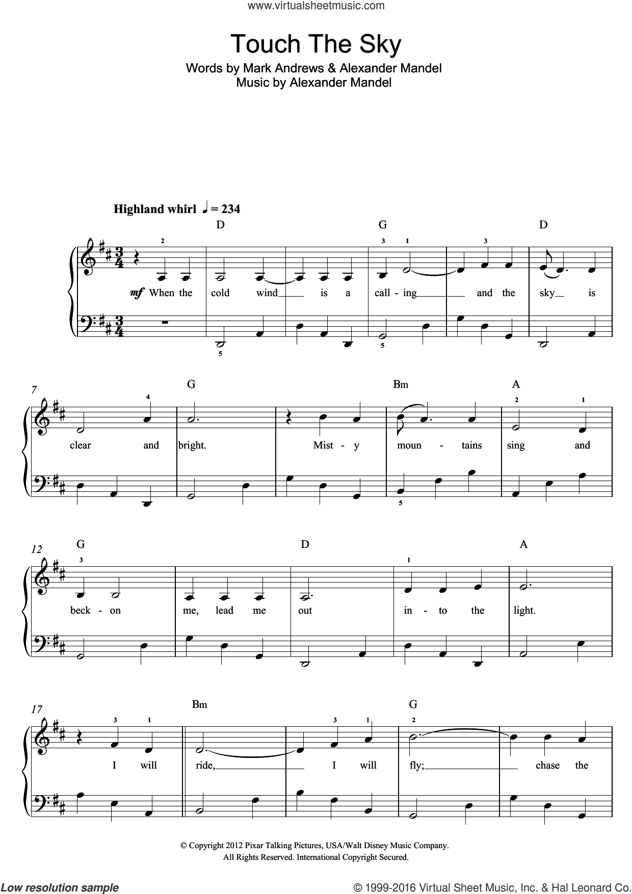Touch The Sky (From 'Brave') sheet music for piano solo by Alexander Mandel and Mark Andrews, easy skill level