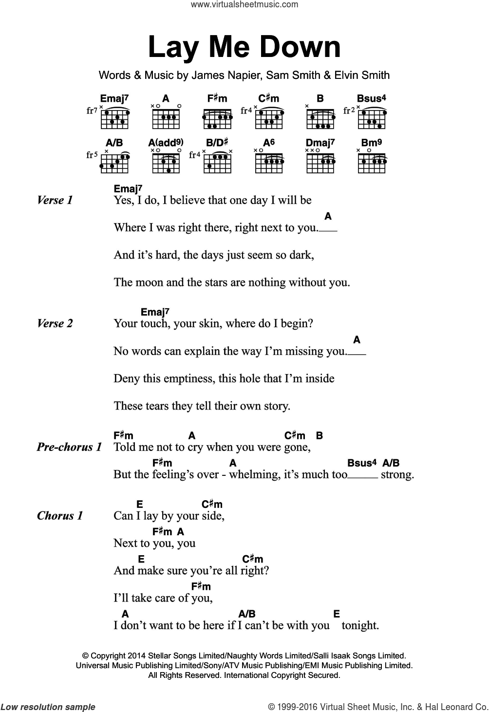 Lay Me Down sheet music for guitar (chords) by James Napier, Elvin Smith and Sam Smith. Score Image Preview.