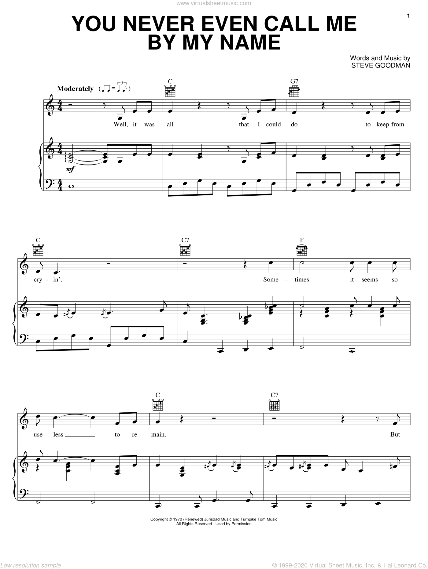 You Never Even Call Me By My Name sheet music for voice, piano or guitar by David Allan Coe and Steve Goodman, intermediate skill level