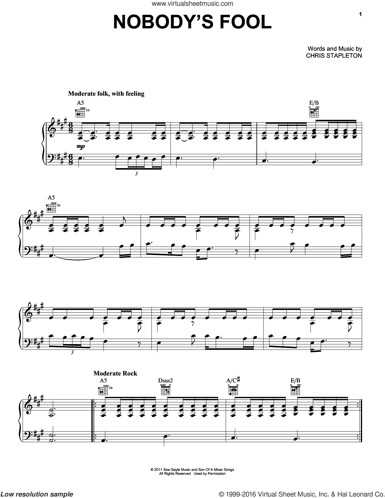 Nobody's Fool sheet music for voice, piano or guitar by Miranda Lambert and Chris Stapleton, intermediate