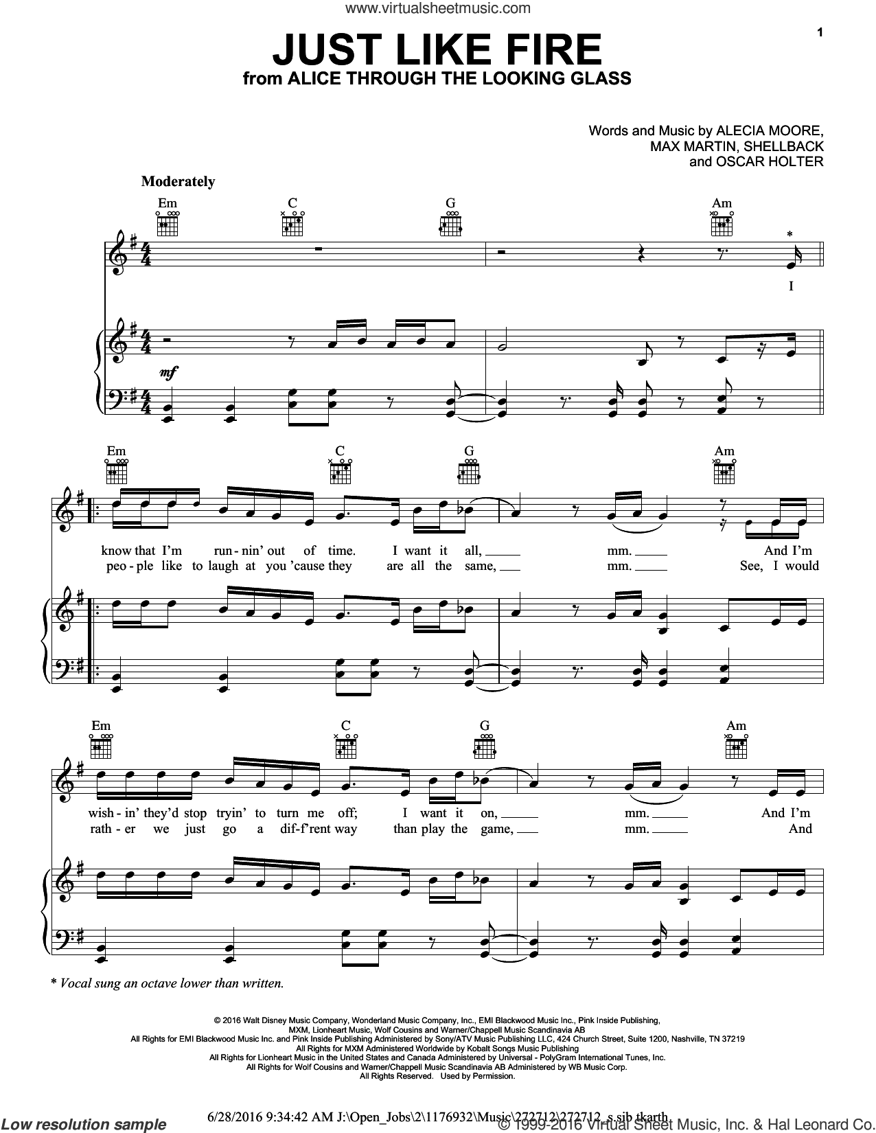 Just Like Fire sheet music for voice, piano or guitar by Max Martin, Miscellaneous, Alecia Moore, Johan Schuster, Oscar Holter and Shellback, intermediate skill level