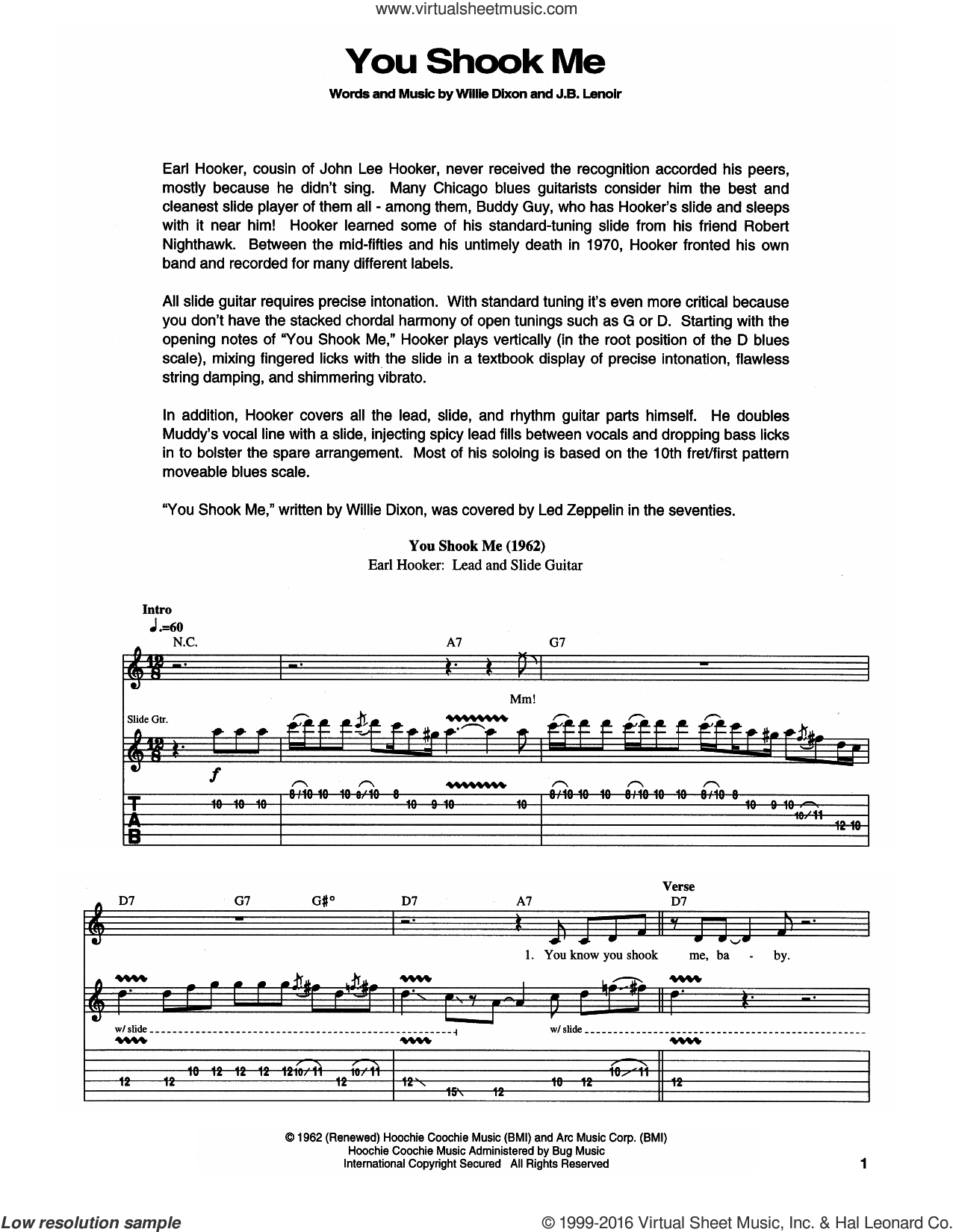 You Shook Me sheet music for guitar (tablature) by Muddy Waters, Led Zeppelin, J.B. Lenoir and Willie Dixon, intermediate skill level