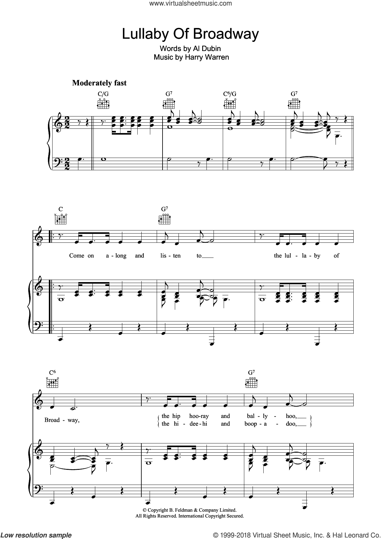Lullaby Of Broadway sheet music for voice, piano or guitar by Harry Warren and Al Dubin, intermediate skill level