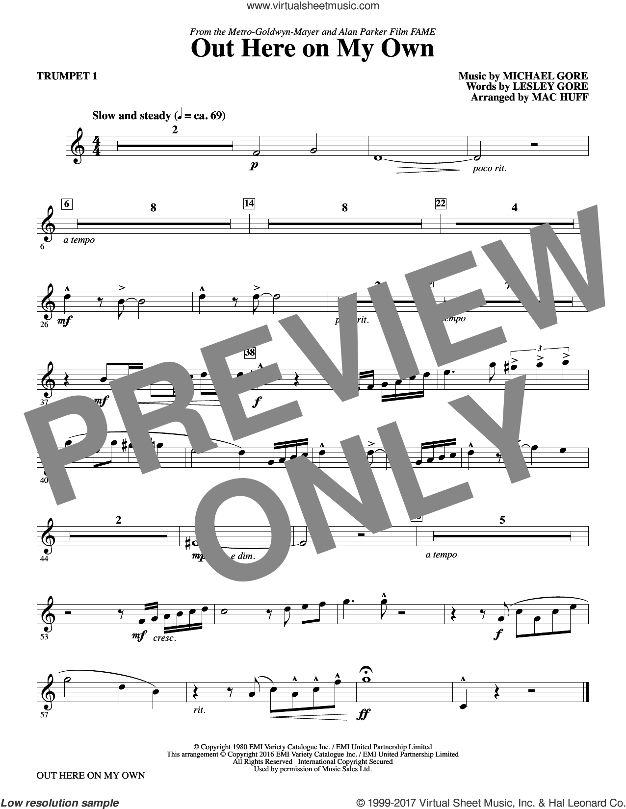 Out Here on My Own (complete set of parts) sheet music for orchestra/band by Mac Huff, Lesley Gore and Michael Gore, intermediate. Score Image Preview.