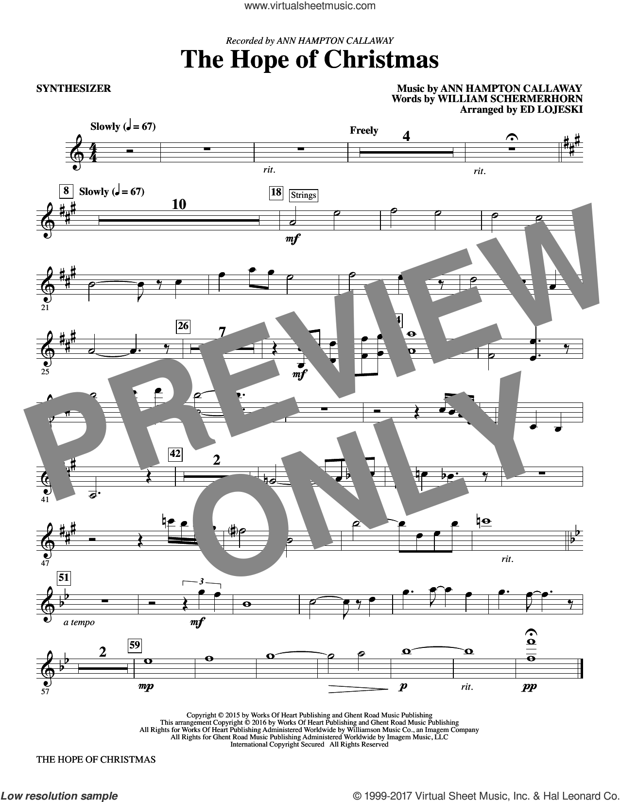 The Hope of Christmas (complete set of parts) sheet music for orchestra/band by Ann Hampton Callaway and William Schermerhorn, intermediate skill level