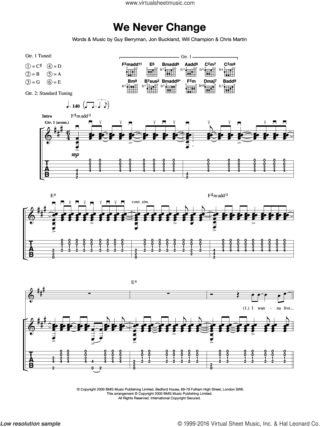 We Never Change sheet music for guitar (tablature) by Coldplay. Score Image Preview.