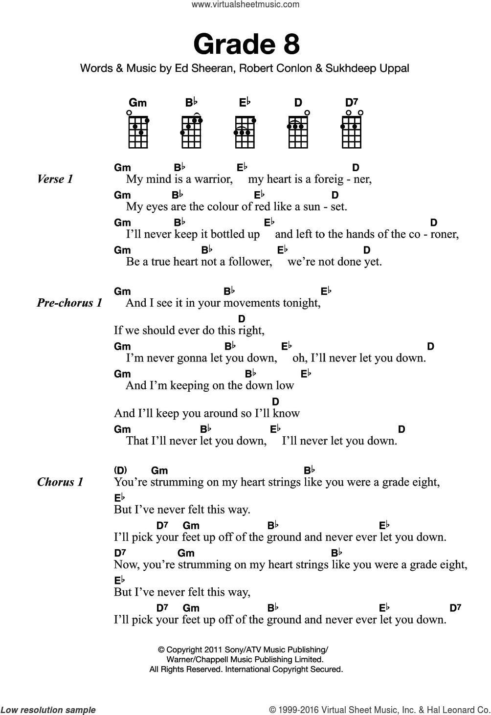 Grade 8 sheet music for ukulele by Ed Sheeran, Robert Conlon and Sukhdeep Uppal, intermediate skill level