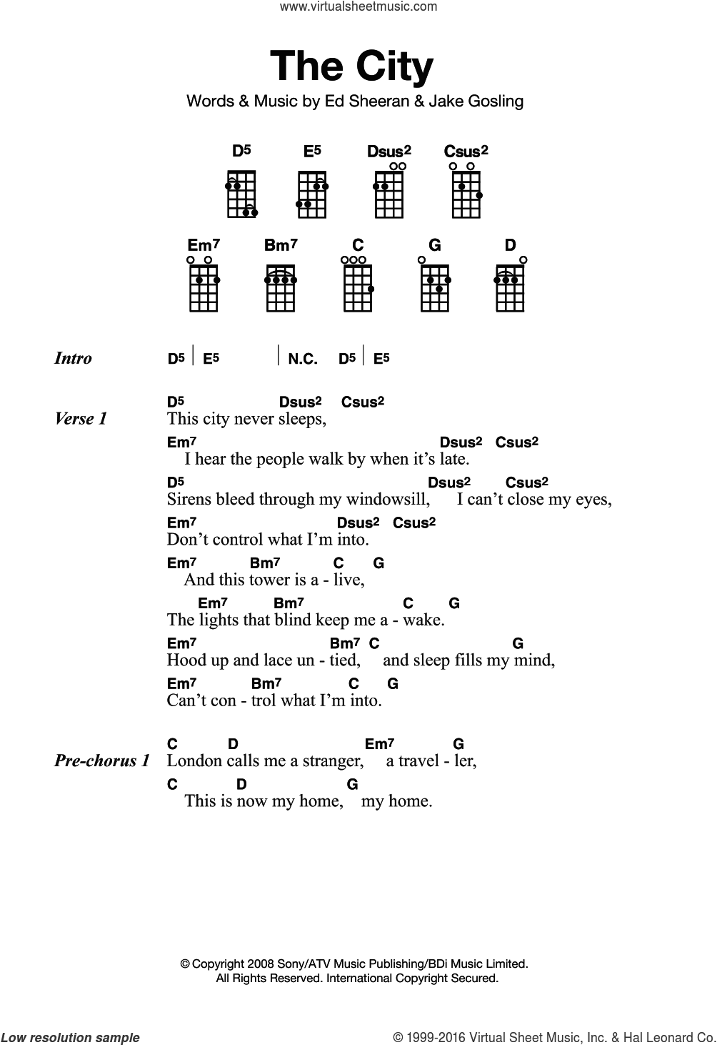 The City sheet music for ukulele by Ed Sheeran and Jake Gosling, intermediate skill level