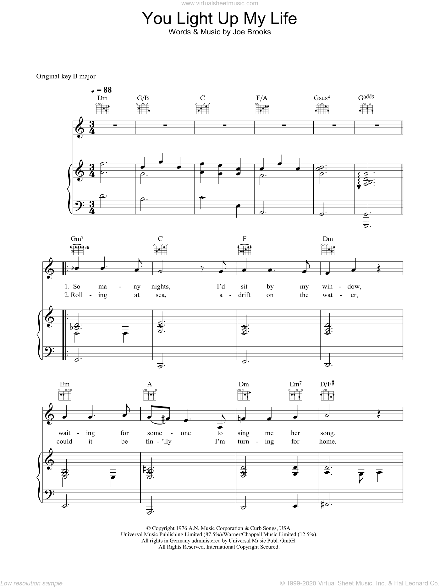 You Light Up My Life sheet music for voice, piano or guitar by Westlife and Joseph Brooks. Score Image Preview.
