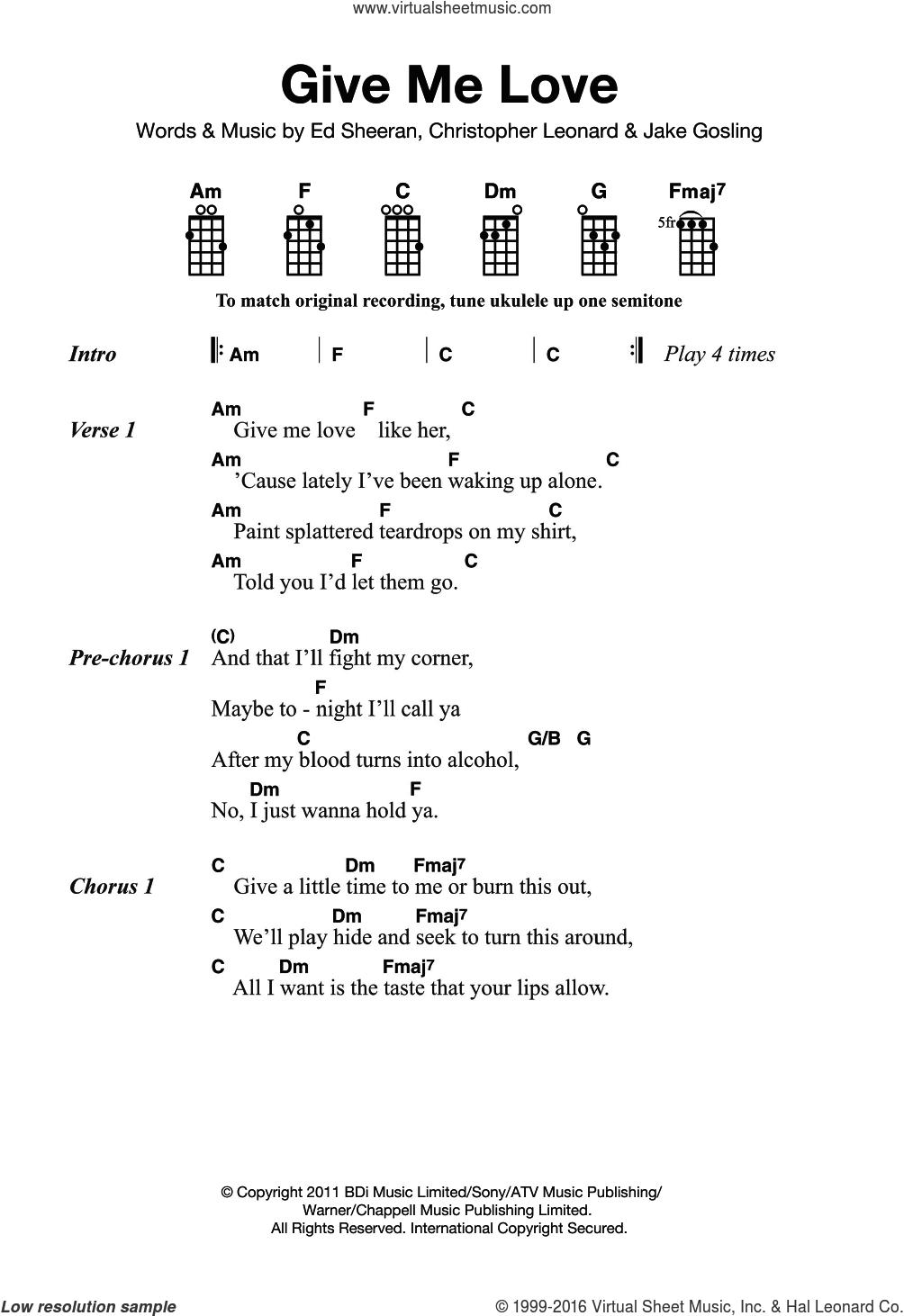 Give Me Love sheet music for ukulele by Ed Sheeran, Christopher Leonard and Jake Gosling, intermediate skill level