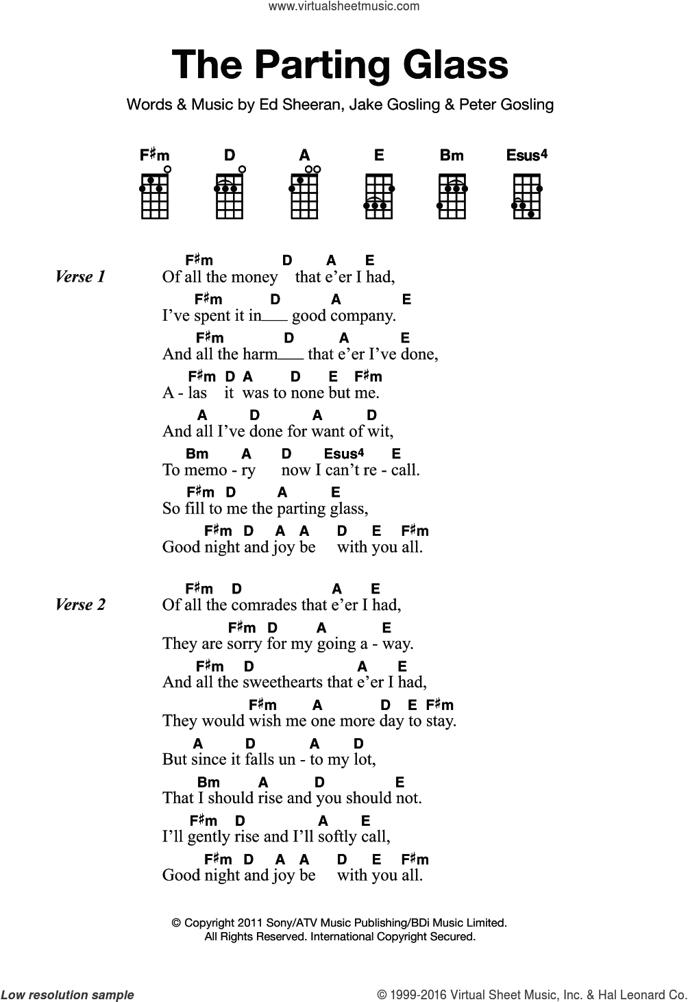 The Parting Glass sheet music for ukulele by Ed Sheeran. Score Image Preview.