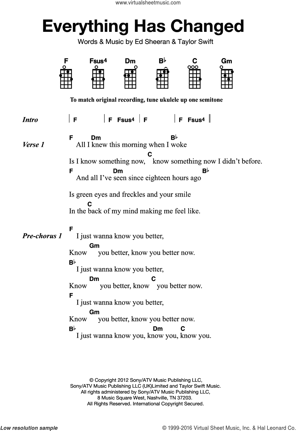 Everything Has Changed sheet music for ukulele by Taylor Swift and Ed Sheeran. Score Image Preview.