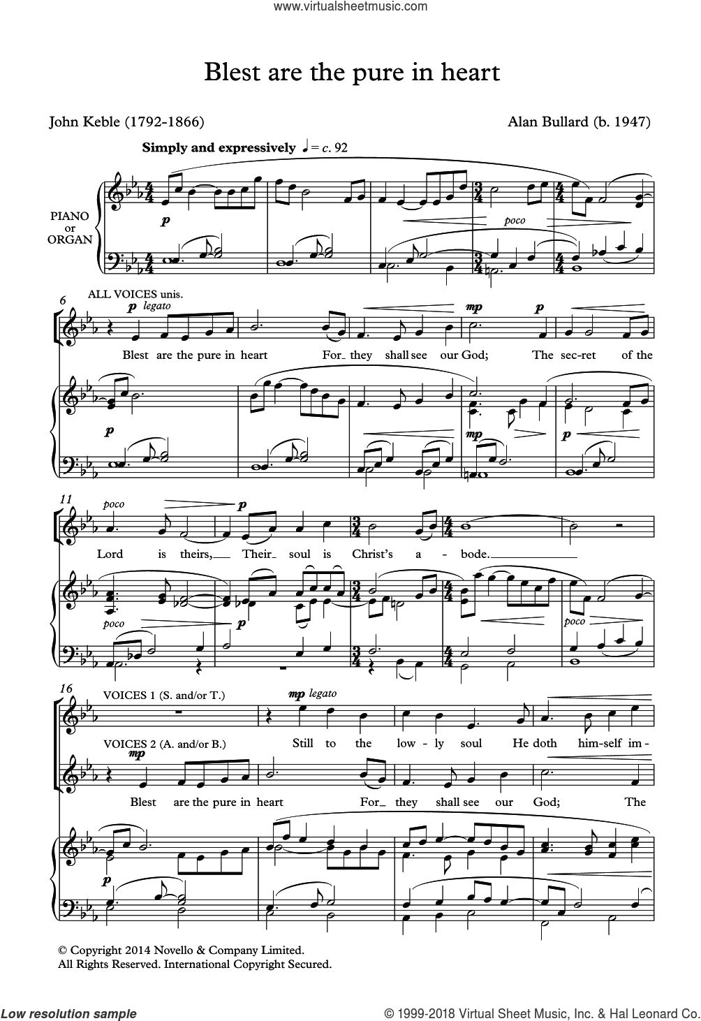 Blest Are The Pure In Heart sheet music for choir by Alan Bullard and John Keble, intermediate skill level