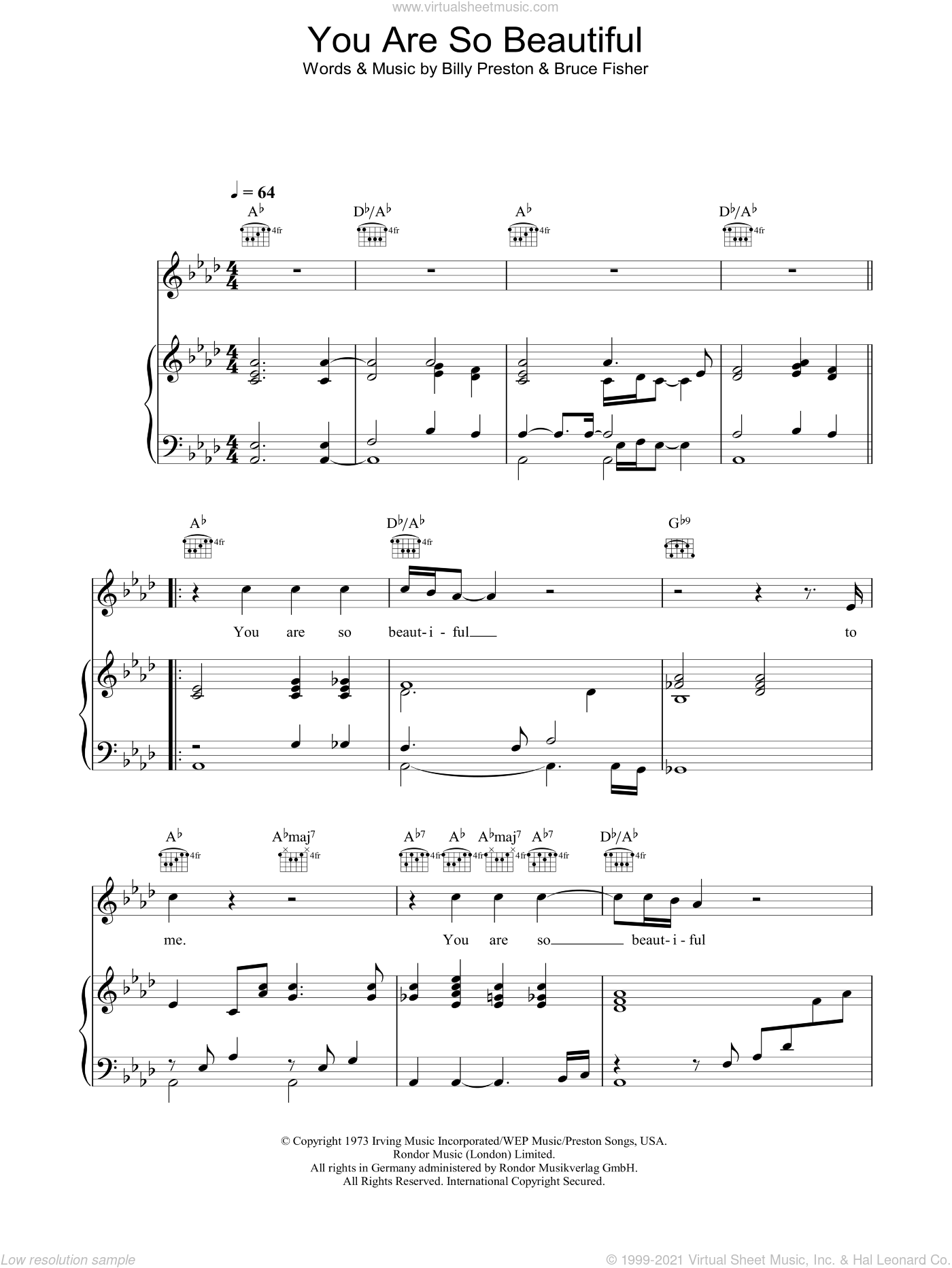 You Are So Beautiful sheet music for voice, piano or guitar by Billy Preston