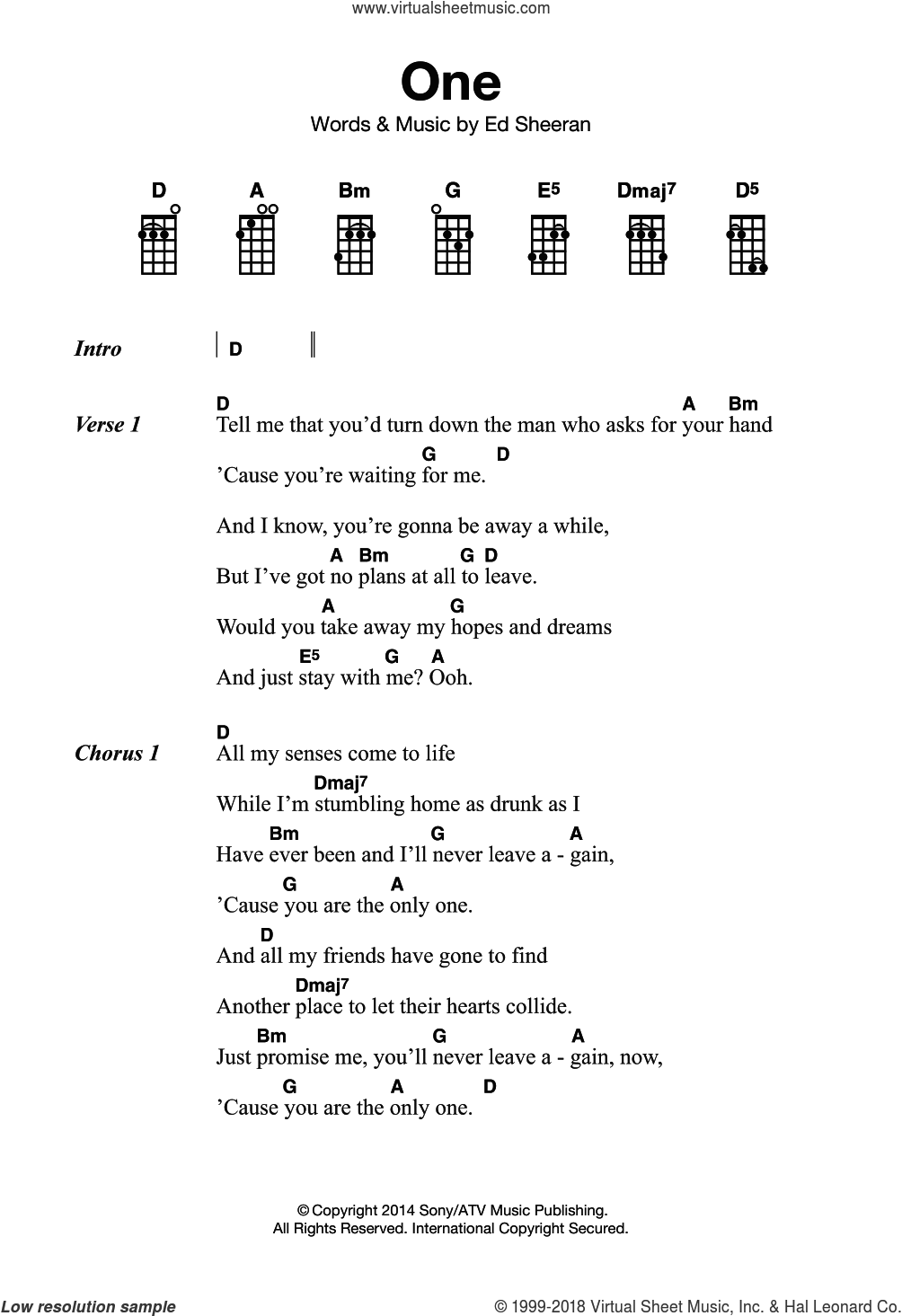One sheet music for ukulele by Ed Sheeran, intermediate skill level