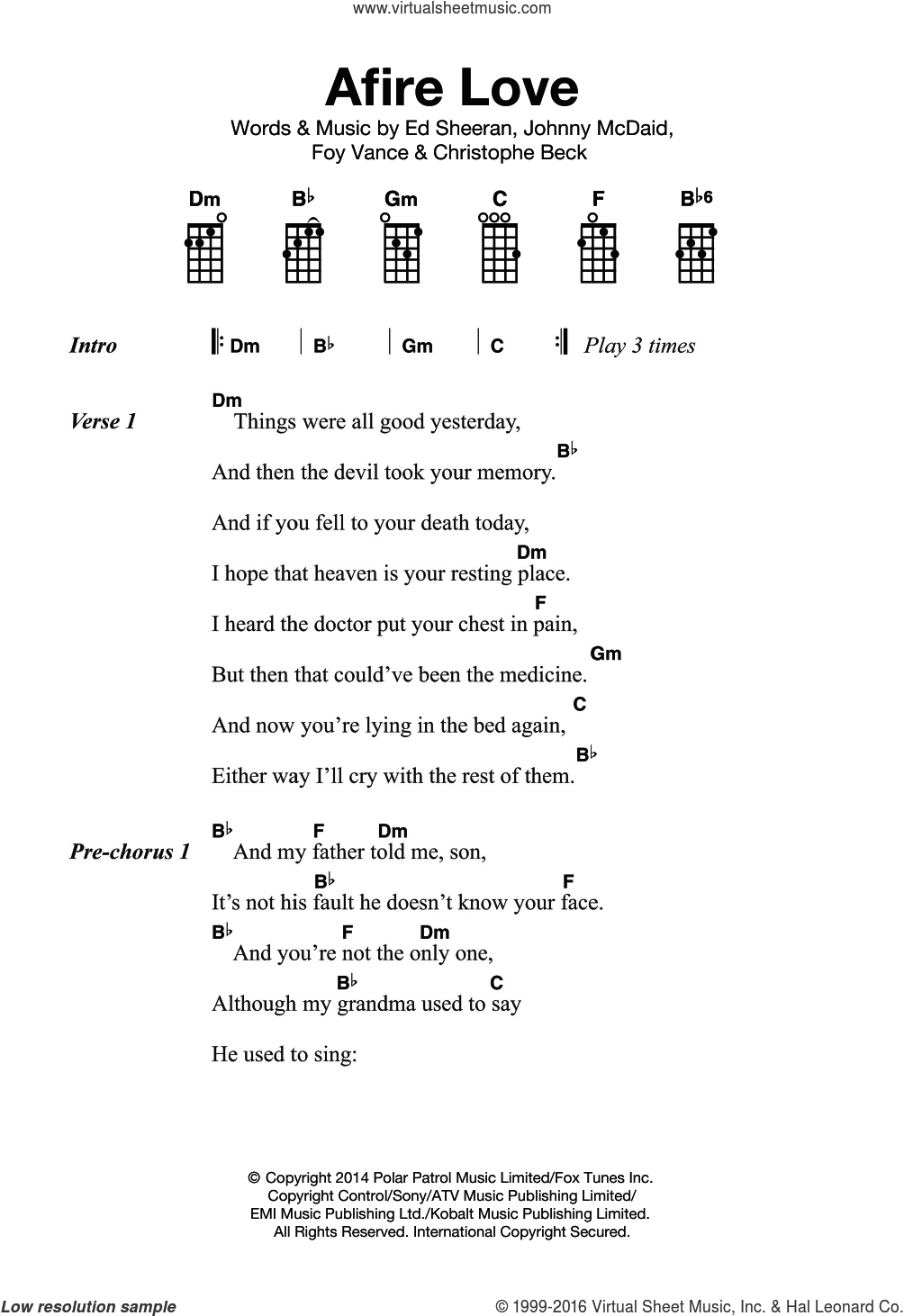 Afire Love sheet music for ukulele by Ed Sheeran, Christophe Beck, Foy Vance and Johnny McDaid, intermediate. Score Image Preview.