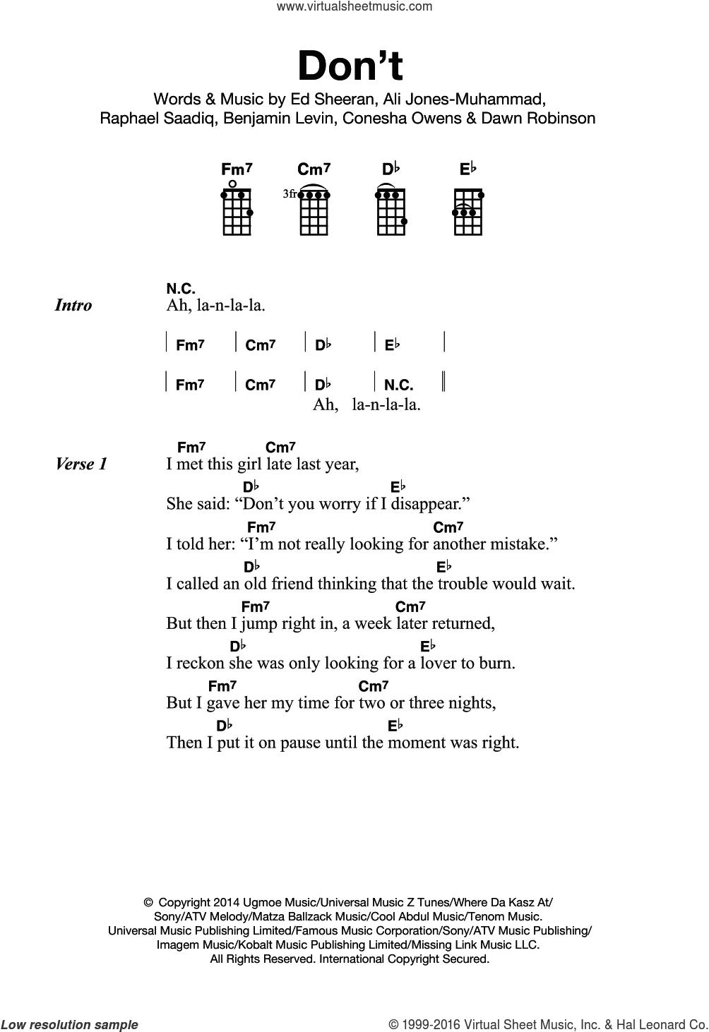 Don't sheet music for ukulele by Ed Sheeran, Ali Jones-Muhammad, Benjamin Levin, Conesha Owens, Dawn Robinson and Raphael Saadiq, intermediate skill level
