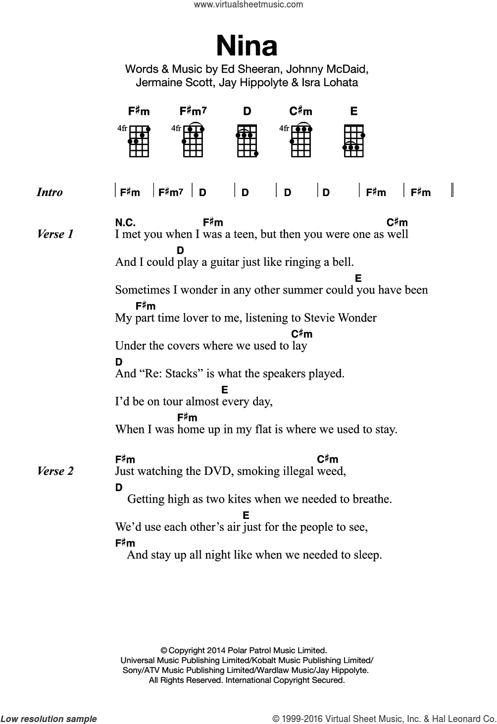 Nina sheet music for ukulele by Ed Sheeran, intermediate. Score Image Preview.
