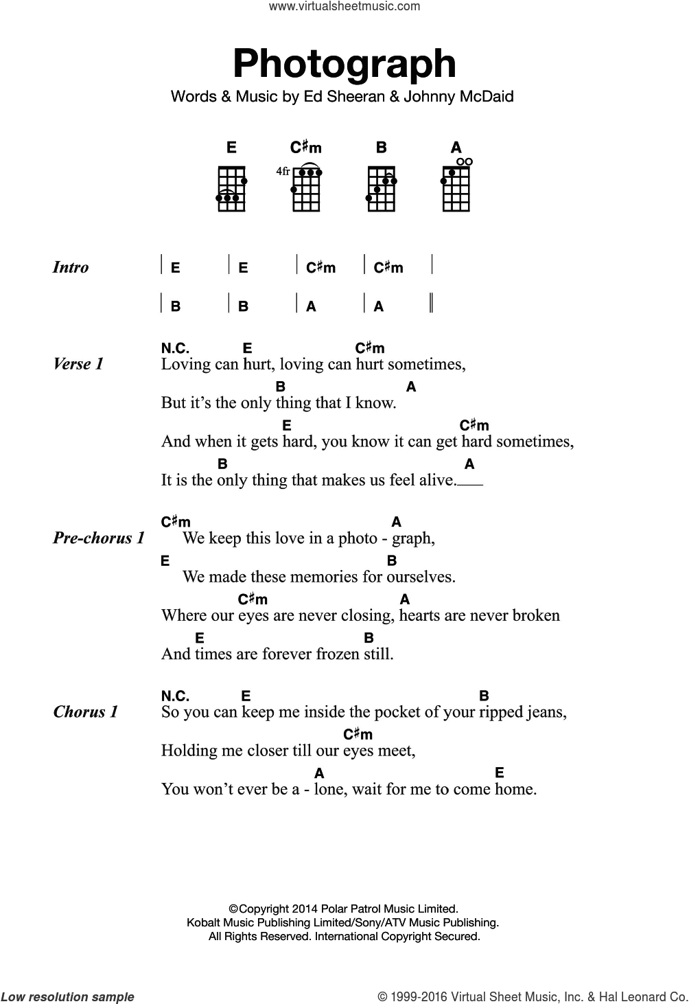 Sheeran Photograph Sheet Music For Ukulele Pdf