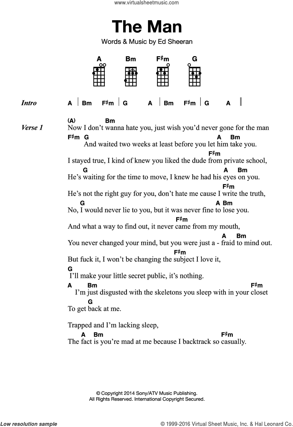 The Man sheet music for ukulele by Ed Sheeran, intermediate skill level