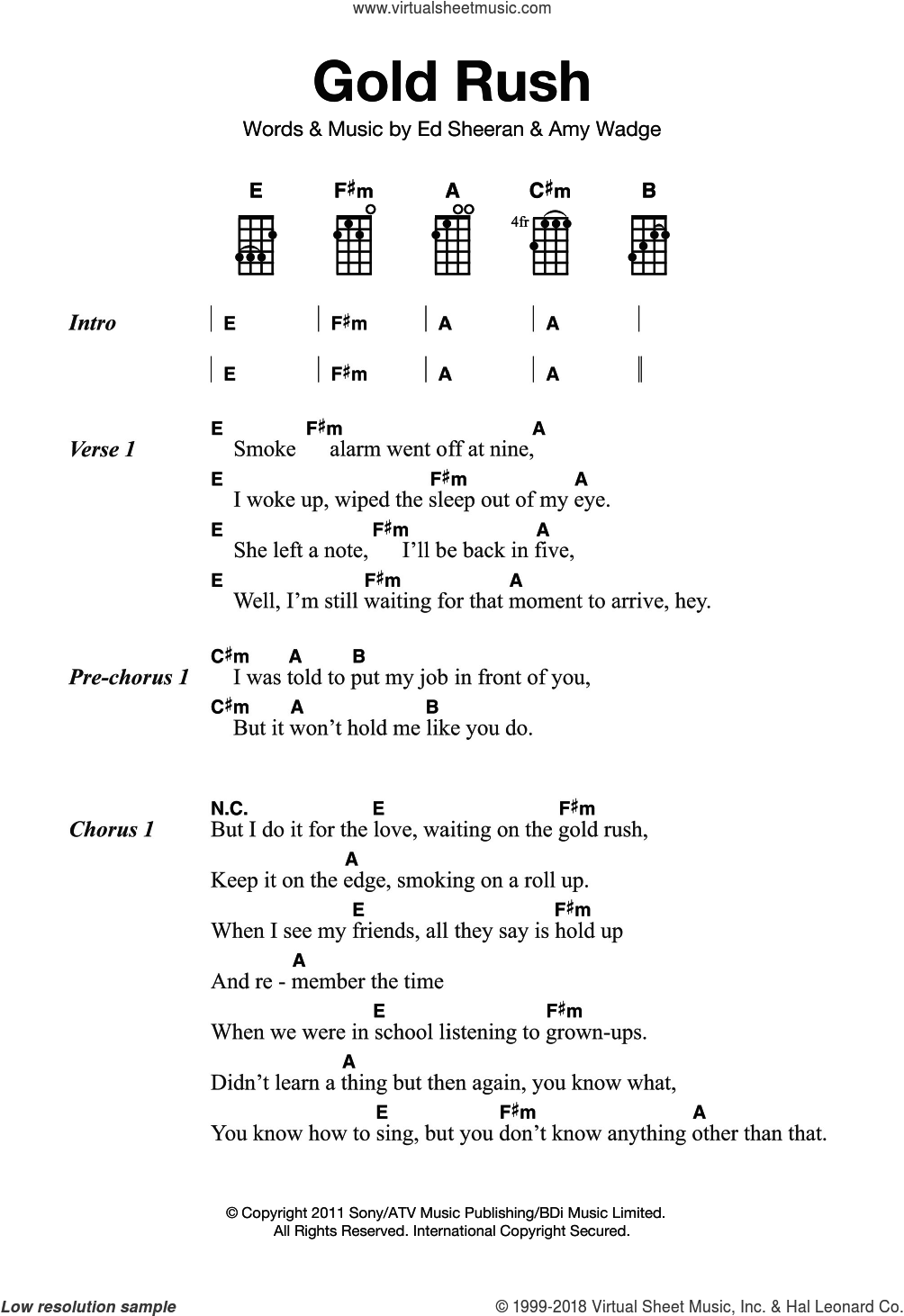 Gold Rush sheet music for ukulele by Ed Sheeran. Score Image Preview.