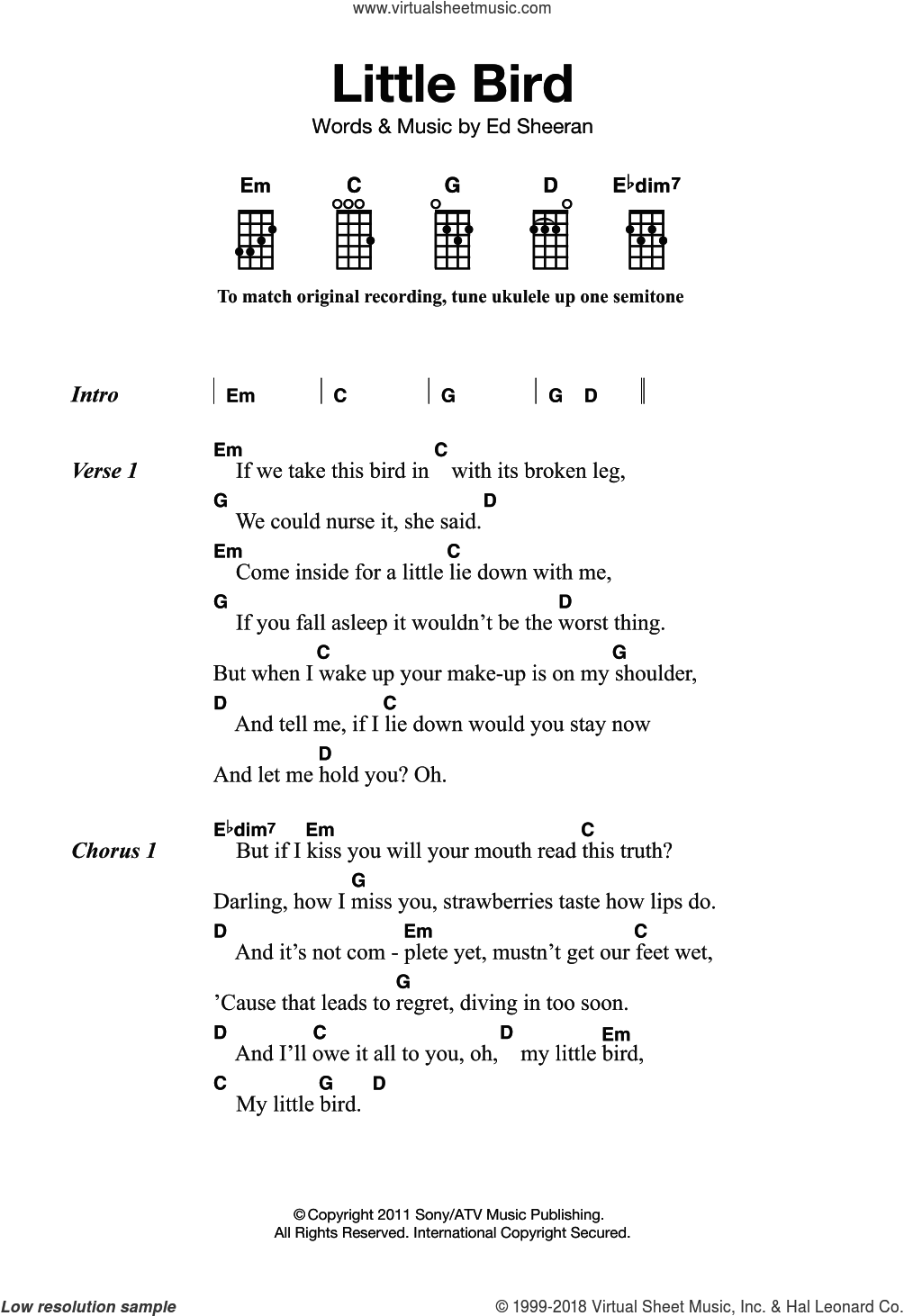 Little Bird sheet music for ukulele by Ed Sheeran. Score Image Preview.
