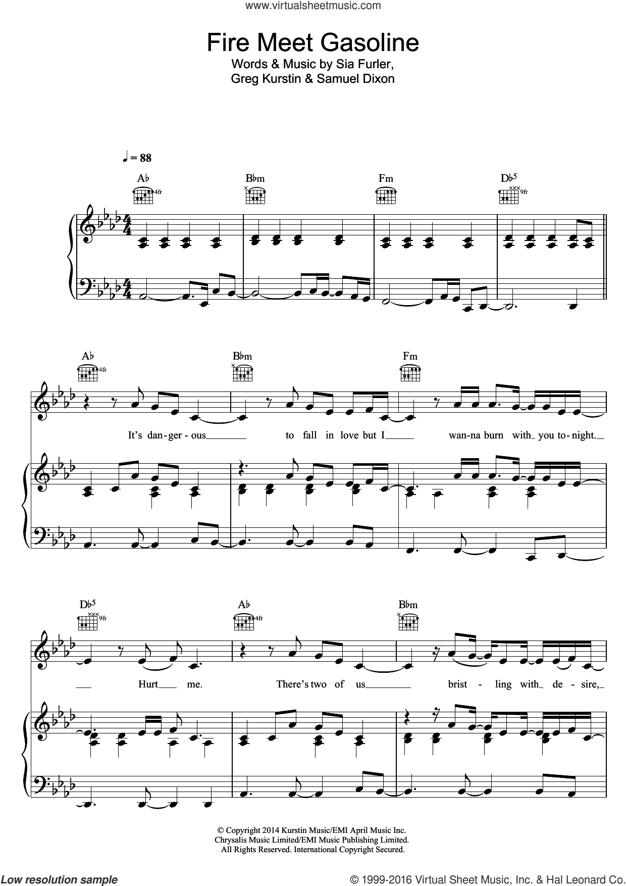 Fire Meet Gasoline sheet music for voice, piano or guitar by Sia. Score Image Preview.